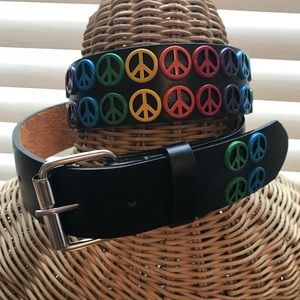 Accessories - Leather Peace Sign Belt